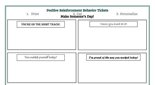 Download positive behavior reinforcement tickets