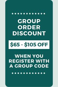 Group Discount gets you $65-105 off depending on group size when you register with a group code