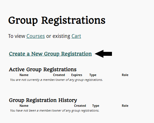 Create a New Group Registration