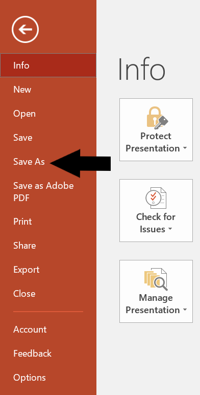 PowerPoint - Save As