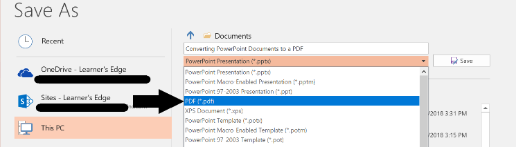 PowerPoint - Save as PDF