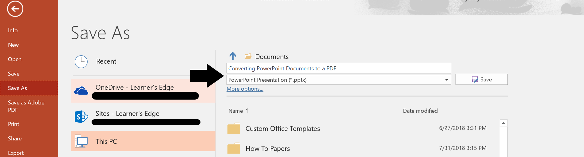 PowerPoint - Save as PPT